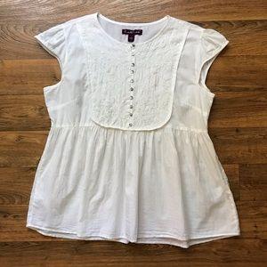 White Cotton Blouse Embroidered Gloria Vanderbilt